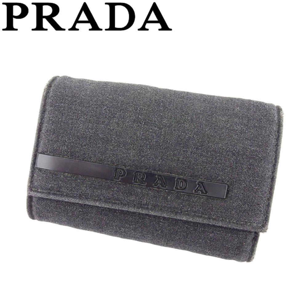 【ニューイヤーセール】 【20%オフ】 【中古】 プラダ PRADA キーケース 6連キーケース レディース メンズ ブラック キャンバス×レザー E1380