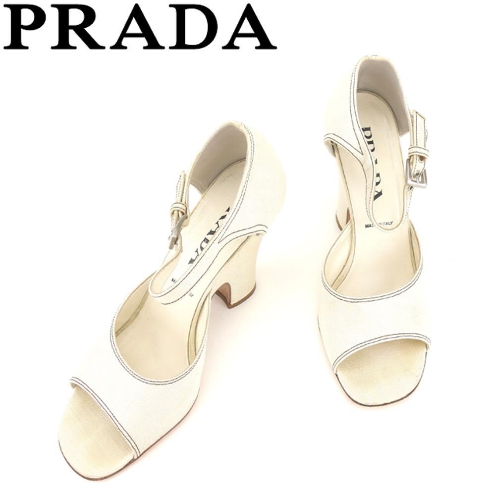 【中古】 プラダ PRADA サンダル シューズ 靴 レディース #38 ベージュ キャンバス×レザー E1386