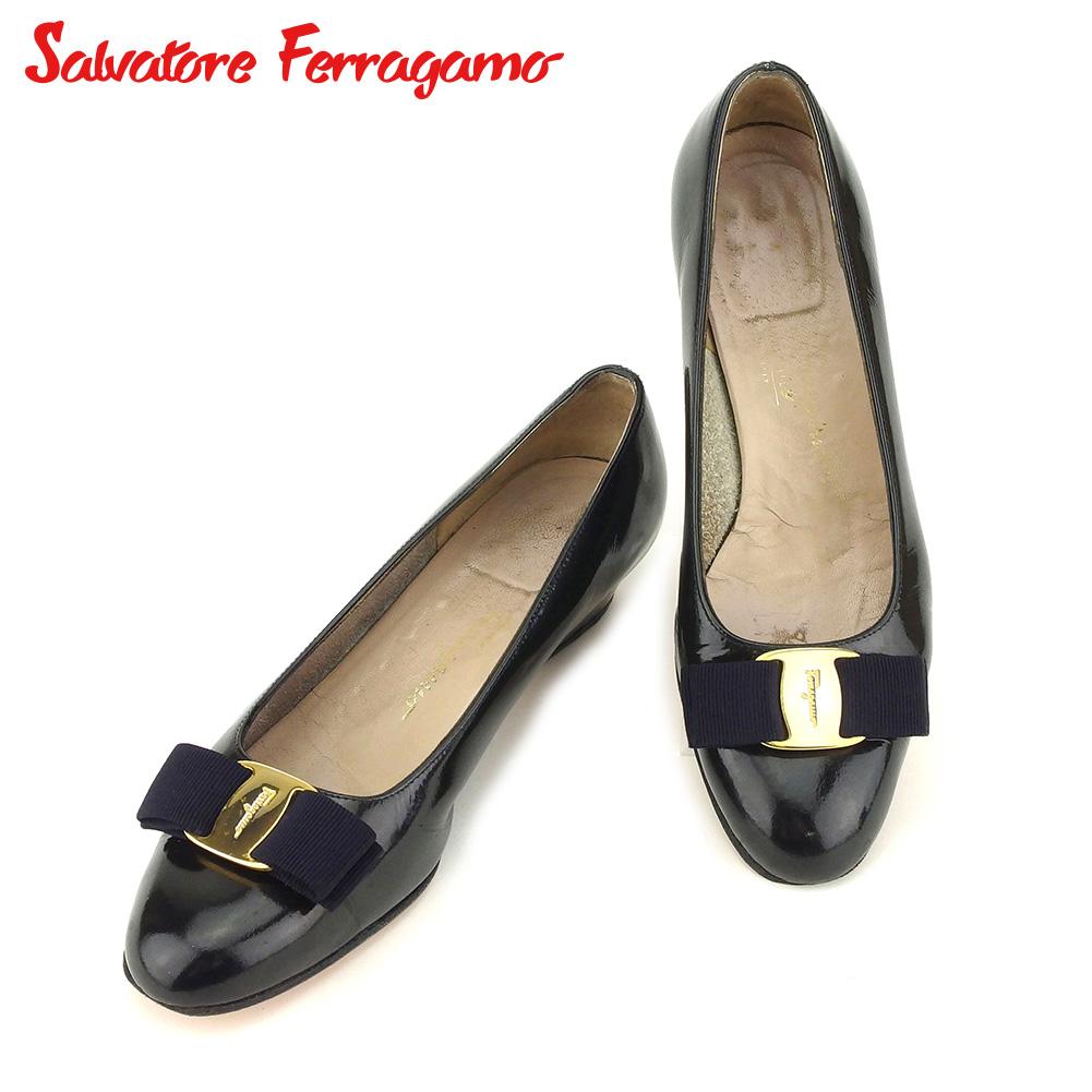 【中古】 サルヴァトーレ フェラガモ Salvatore Ferragamo パンプス シューズ 靴 レディース ♯5C ラウンドトゥ ブラック ネイビー ゴールド エナメルレザー F1394