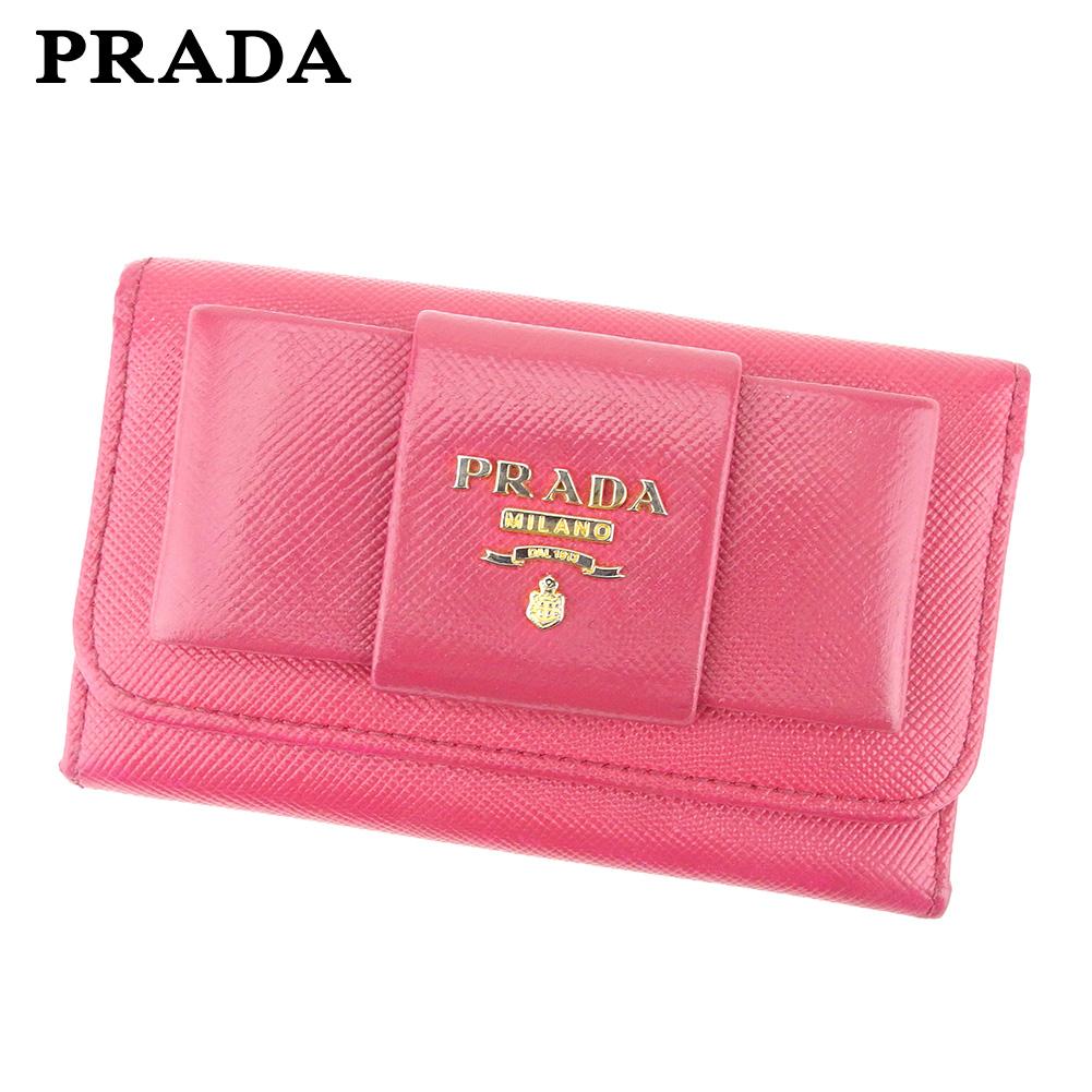 【中古】 プラダ PRADA キーケース 6連キーケース レディース ピンク ゴールド サフィアーノレザー F1395