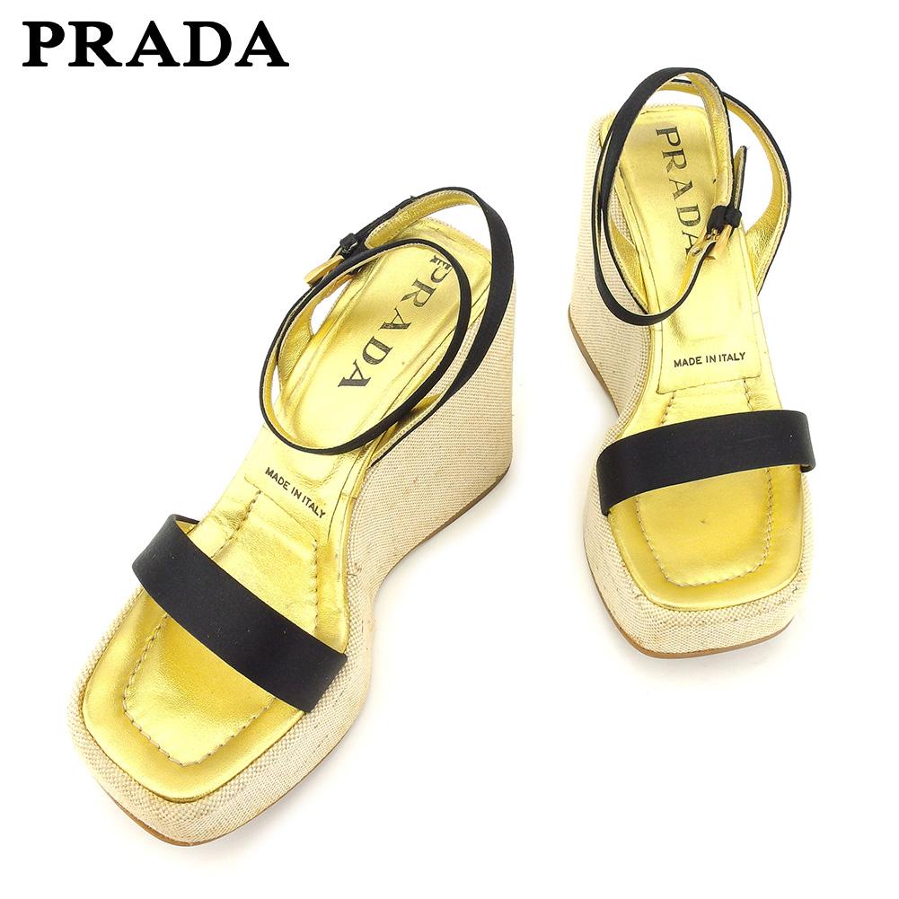 【中古】 プラダ PRADA サンダル シューズ 靴 レディース ♯35ハーフ アンクルストラップ ベージュ ブラック ゴールド キャンバス×サテン×レザー F1399
