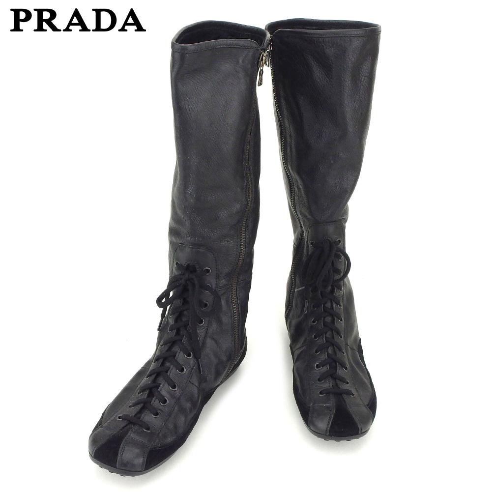 【中古】 プラダ PRADA ブーツ シューズ 靴 レディース ♯36 CAR SHOE ロング ブラック レザー×スエード F1406