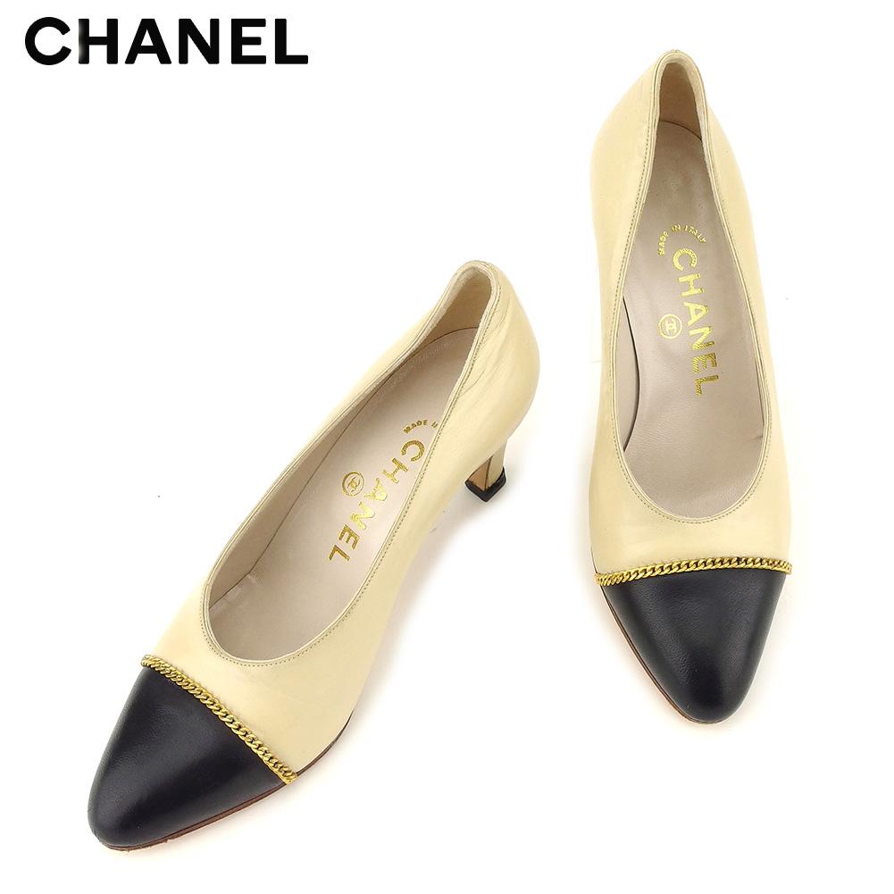 【中古】 シャネル CHANEL パンプス シューズ 靴 レディース ♯34ハーフ チェーントゥ ベージュ ブラック ゴールド レザー F1410
