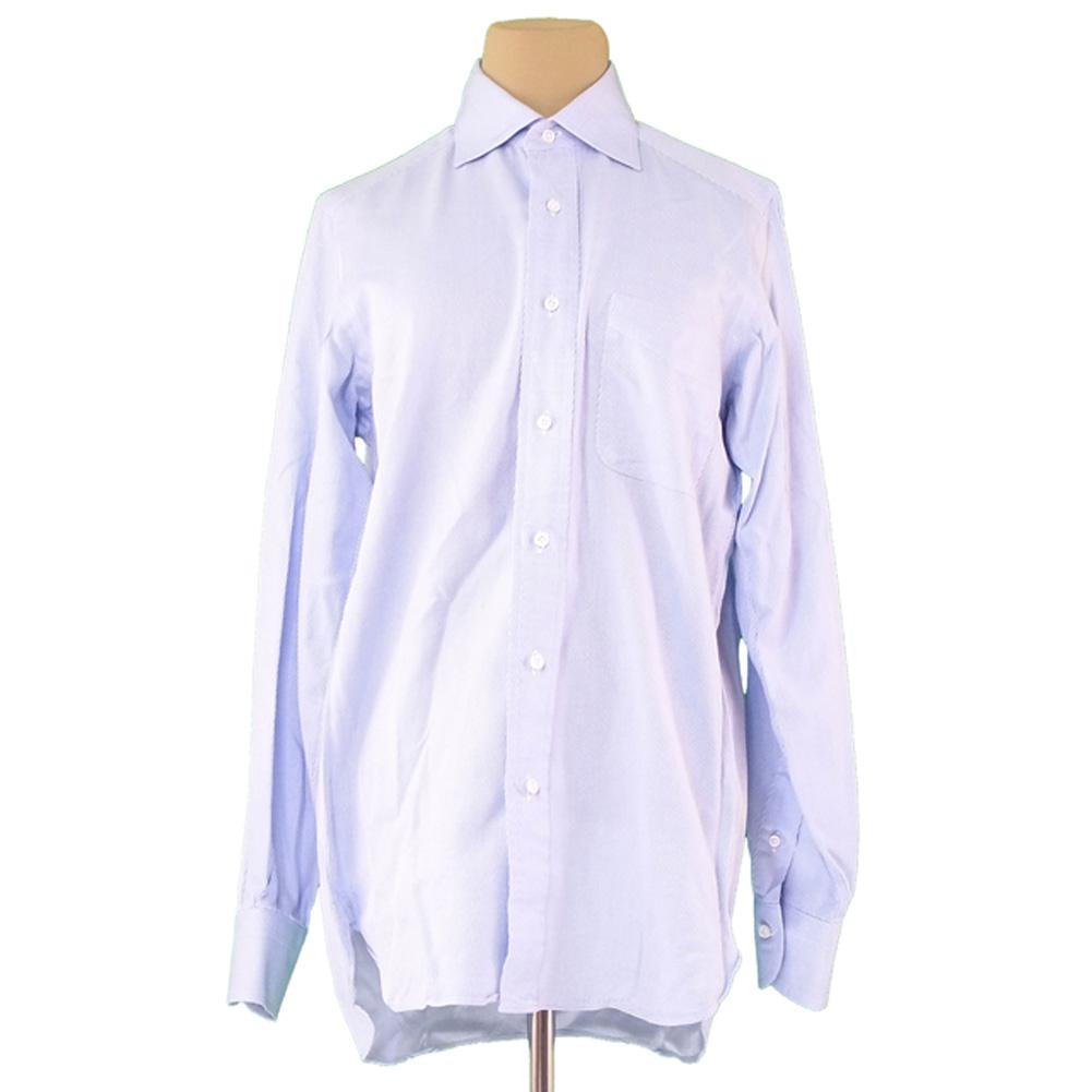 【中古】 ユナイテッドアローズ UNITED ARROWS シャツ 長袖 メンズ ♯37サイズ ブルー ホワイト 白 綿 コットン T11021 .