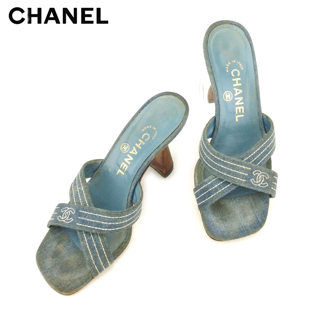【中古】 シャネル CHANEL サンダル シューズ 靴 レディース ♯36ハーフ ココマークステッチ ブルー ブラウン デニムキャンバス×レザー T8624