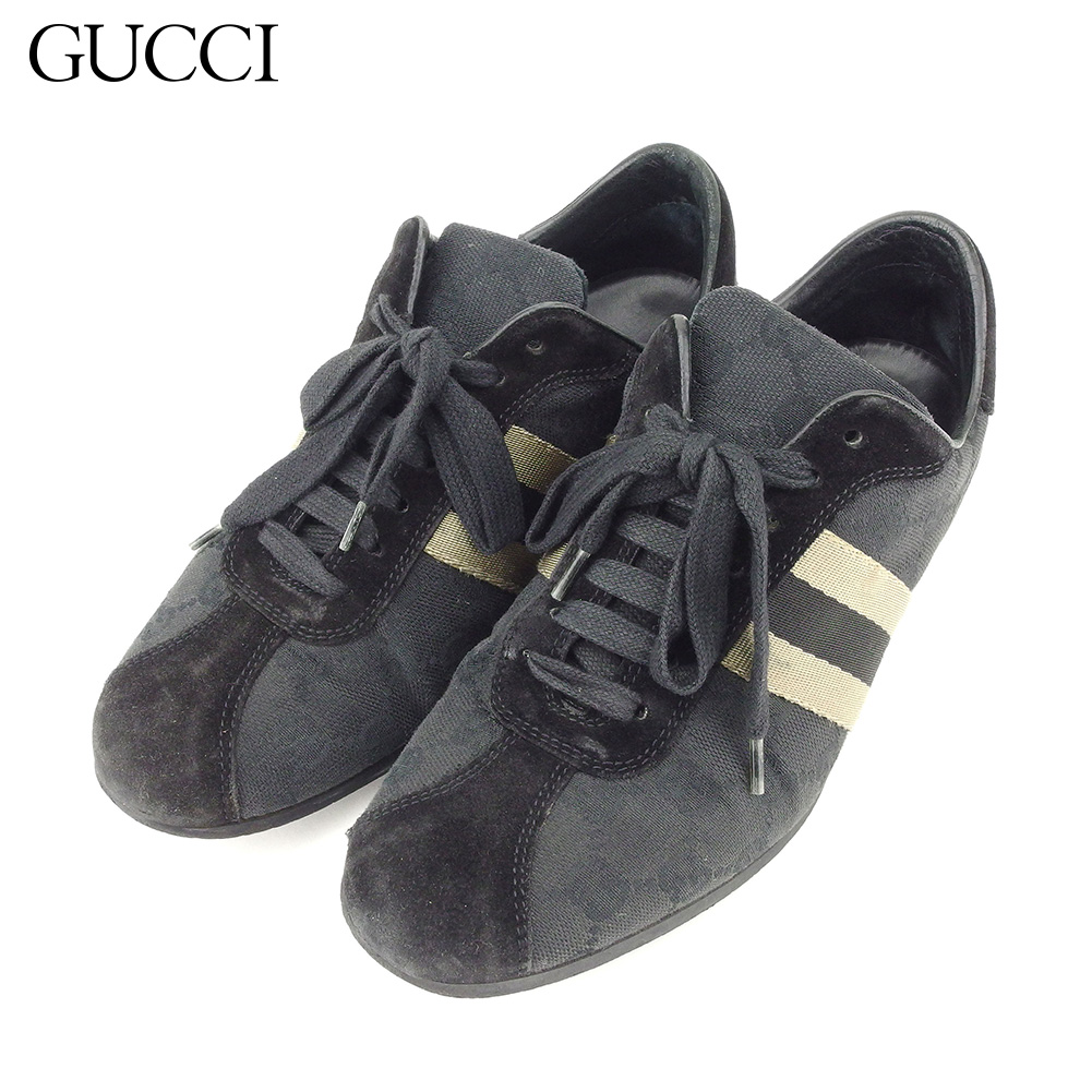 【中古】 グッチ GUCCI スニーカー シューズ 靴 レディース ♯36 ローカット ウェビングライン ブラック ベージュ キャンバス×スエード T8644