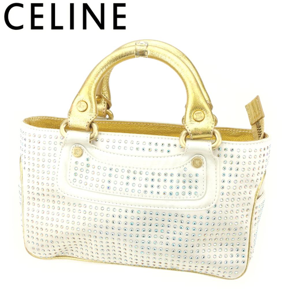 【中古】セリーヌ Celine ハンドバッグ ポーチ ミニハンドバッグ レディース ブギーバッグ ラインストーン ゴールド ホワイト 白 T8934
