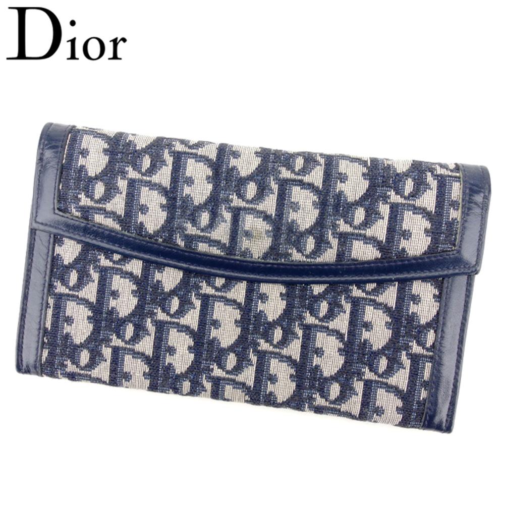 【中古】ディオール Dior がま口 財布 長財布 レディース トロッター ネイビー ベージュ キャンバス×レザー T8946