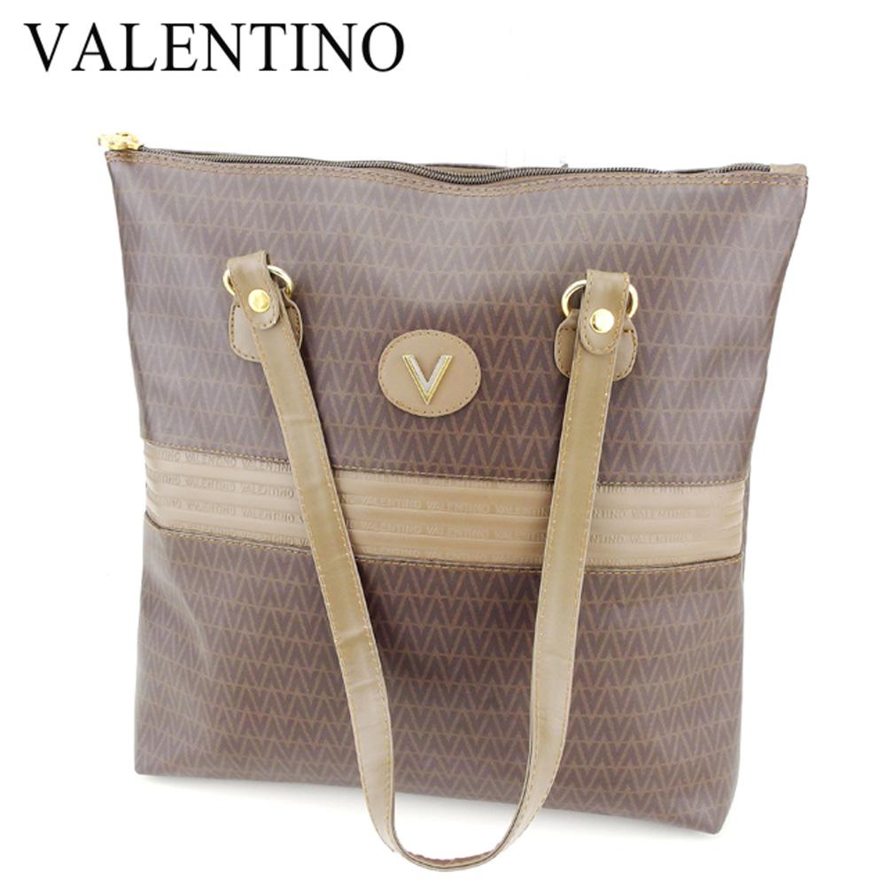 【中古】 マリオ ヴァレンティノ MARIO VALENTINO トートバッグ ワンショルダー レディース メンズ  ベージュ ブラウン PVC×レザー 人気 セール Q517