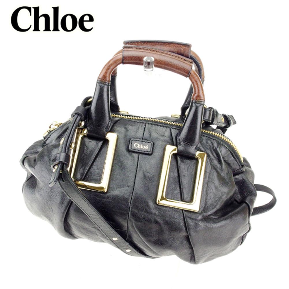 【中古】 クロエ Chloe ハンドバッグ 2WAYショルダー レディース  ブラック レザー 人気 セール Q529