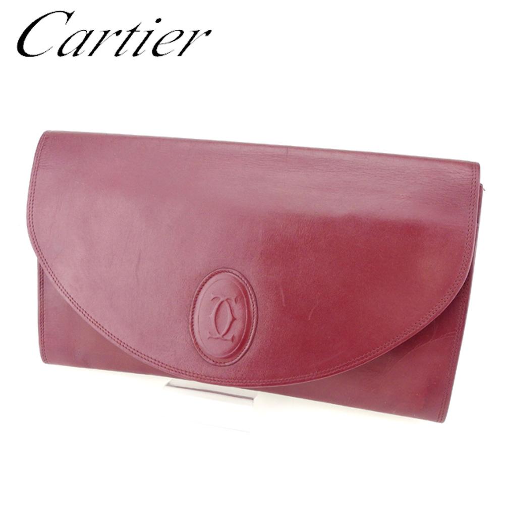 【中古】 カルティエ Cartier クラッチバッグ セカンドバッグ レディース メンズ マストライン ボルドー レザー 人気 セール Q530