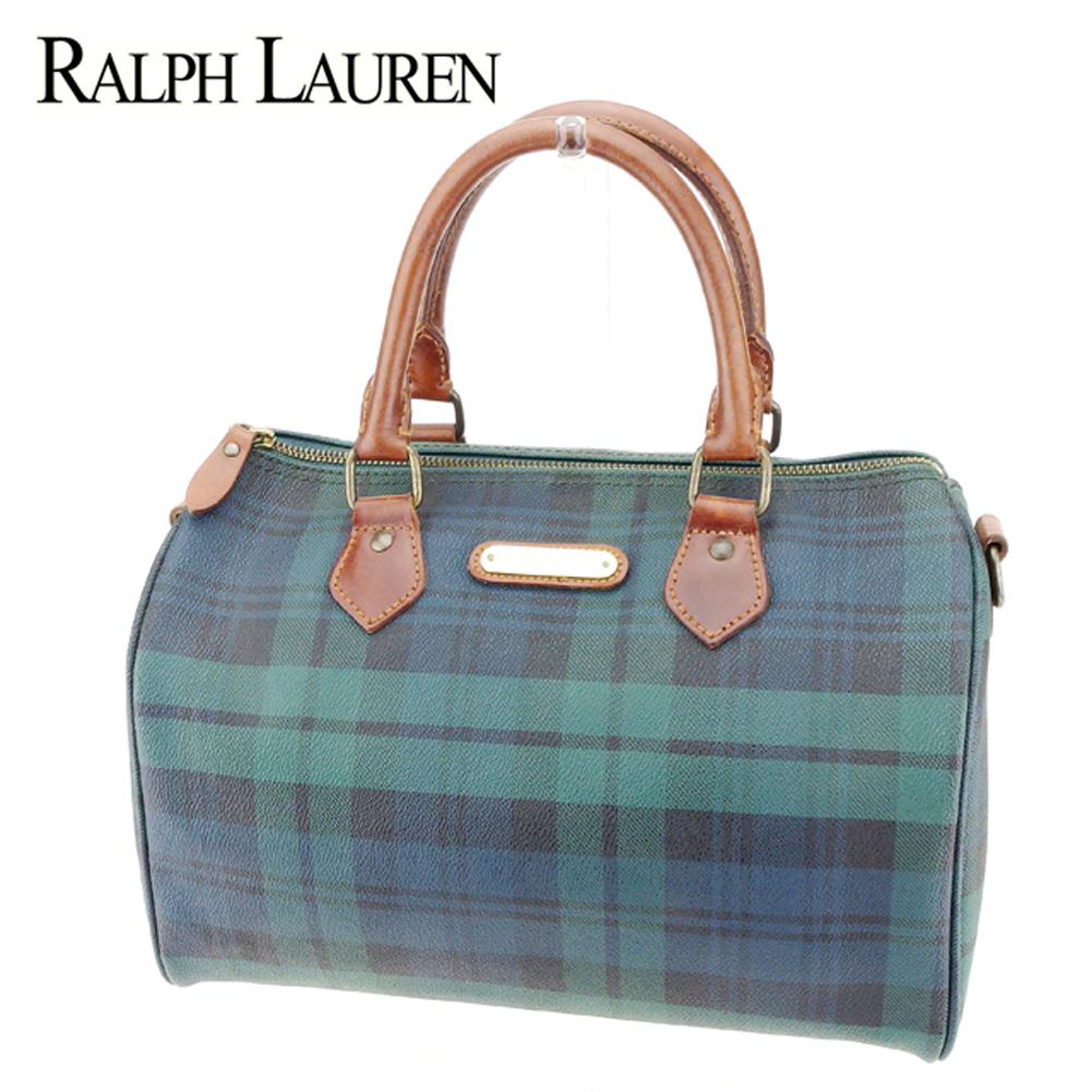 Lauren Mini Ralph Popularity Polo Bag Green X Sale Boston Check Pvc Leather Brown Q532 Men Lady's 8wP0Onk