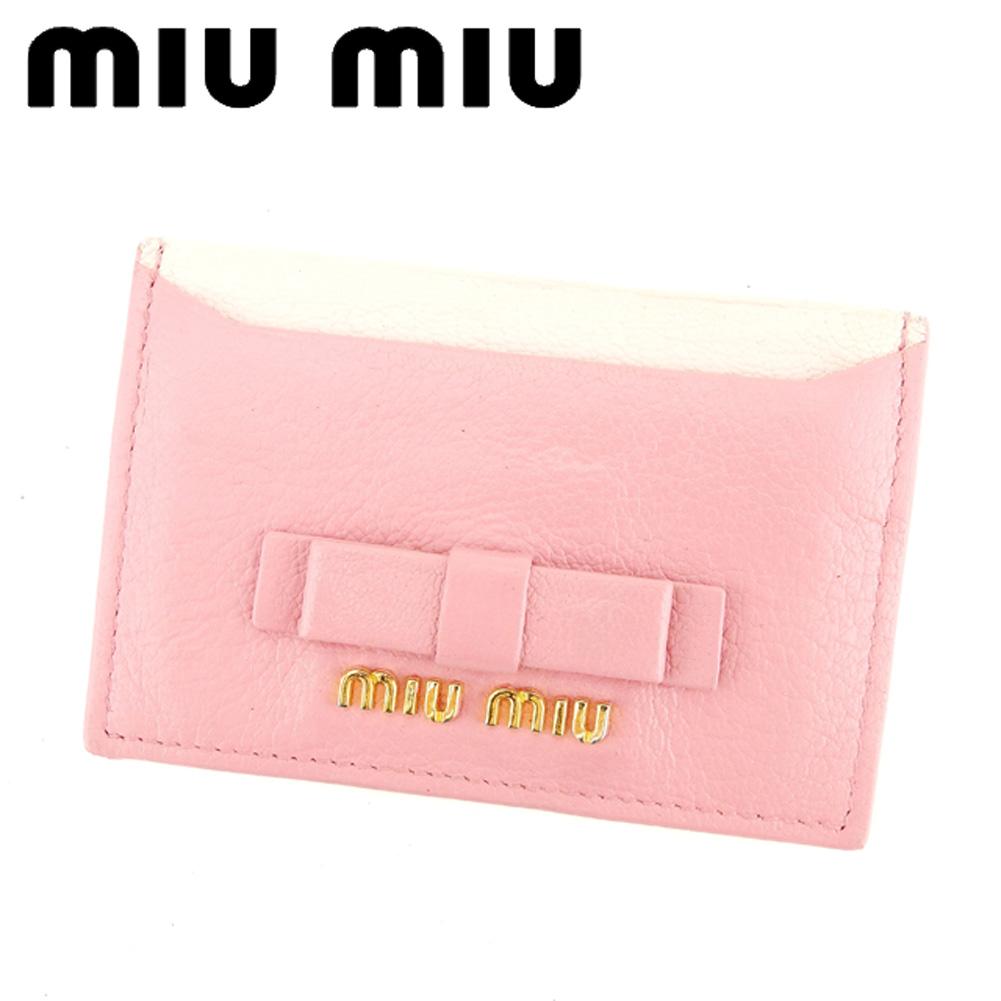 【中古】 ミュウミュウ miumiu カードケース 名刺入れ レディース ピンク レザー Q538 .
