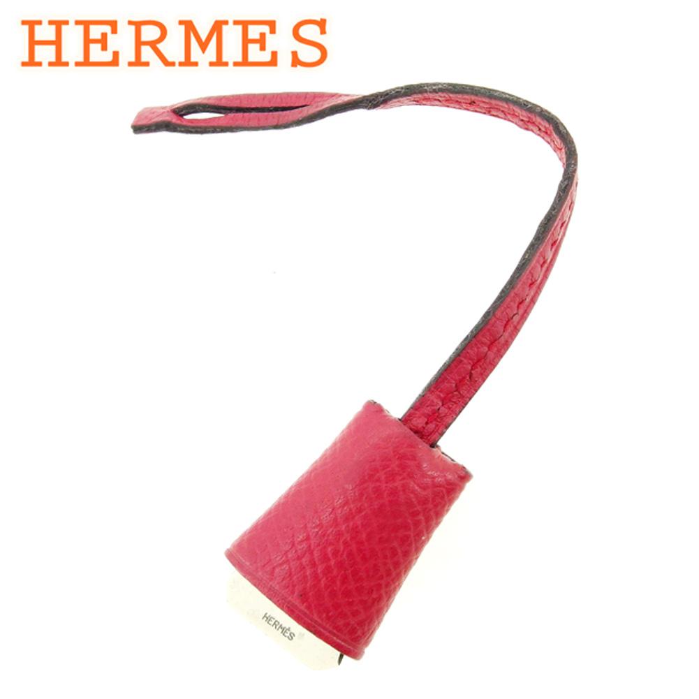 【中古】 エルメス HERMES バッグチャーム キーホルダー レディース メンズ ミニクロシェット レッド レザー×シルバー素材 人気 セール Q546