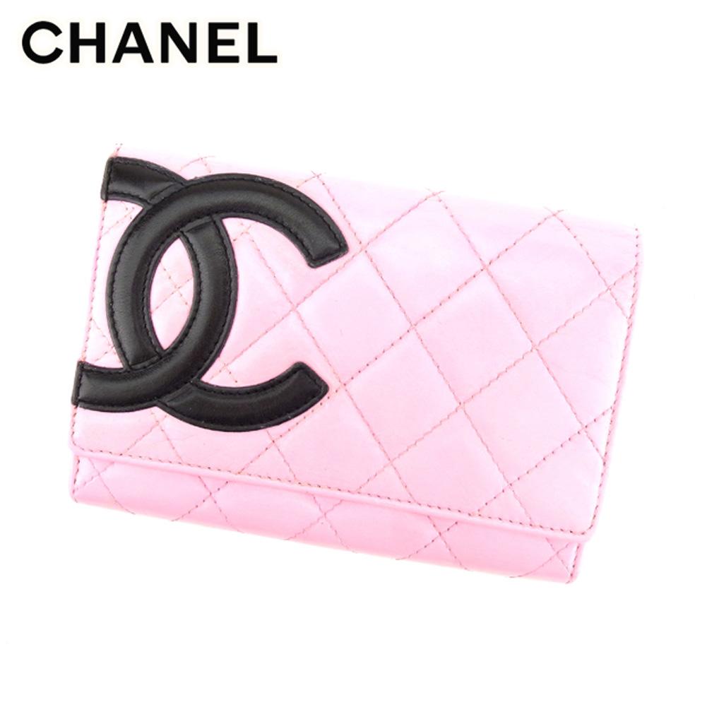 【中古】 シャネル CHANEL 二つ折り 財布 レディース カンボンライン ピンク レザー ヴィンテージ 人気 T8773