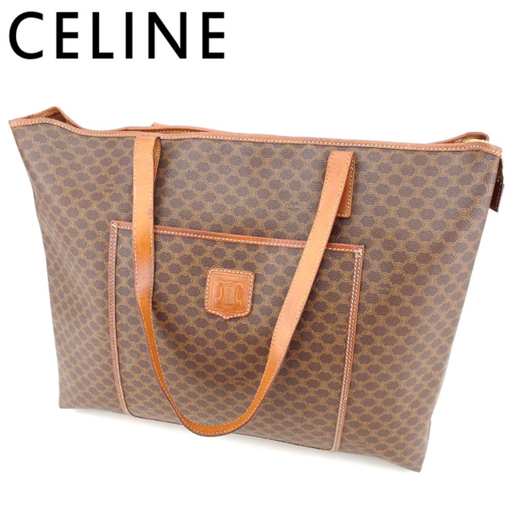 【中古】 セリーヌ Celine トートバッグ ワンショルダー レディース メンズ マカダム ブラウン PVC×レザー 人気 セール T8788