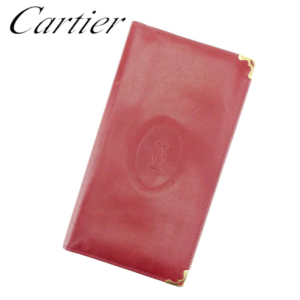【中古】 カルティエ Cartier 長札入れ 長財布 レディース メンズ ボルドー レザー H658