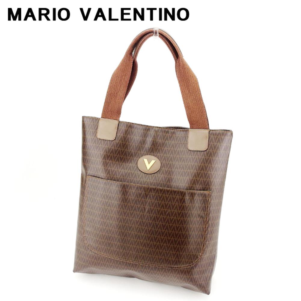 【中古】 マリオ ヴァレンティノ MARIO VALENTINO トートバッグ セカンドバッグ レディース メンズ  ブラウン PVC×レザー 廃盤 人気 H667