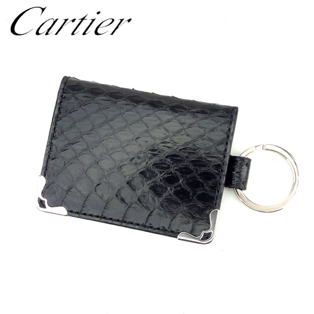 【中古】 カルティエ Cartier キーホルダー キーリング レディース メンズ パイソン ブラック レザー×シルバー素材 人気 良品 T8984