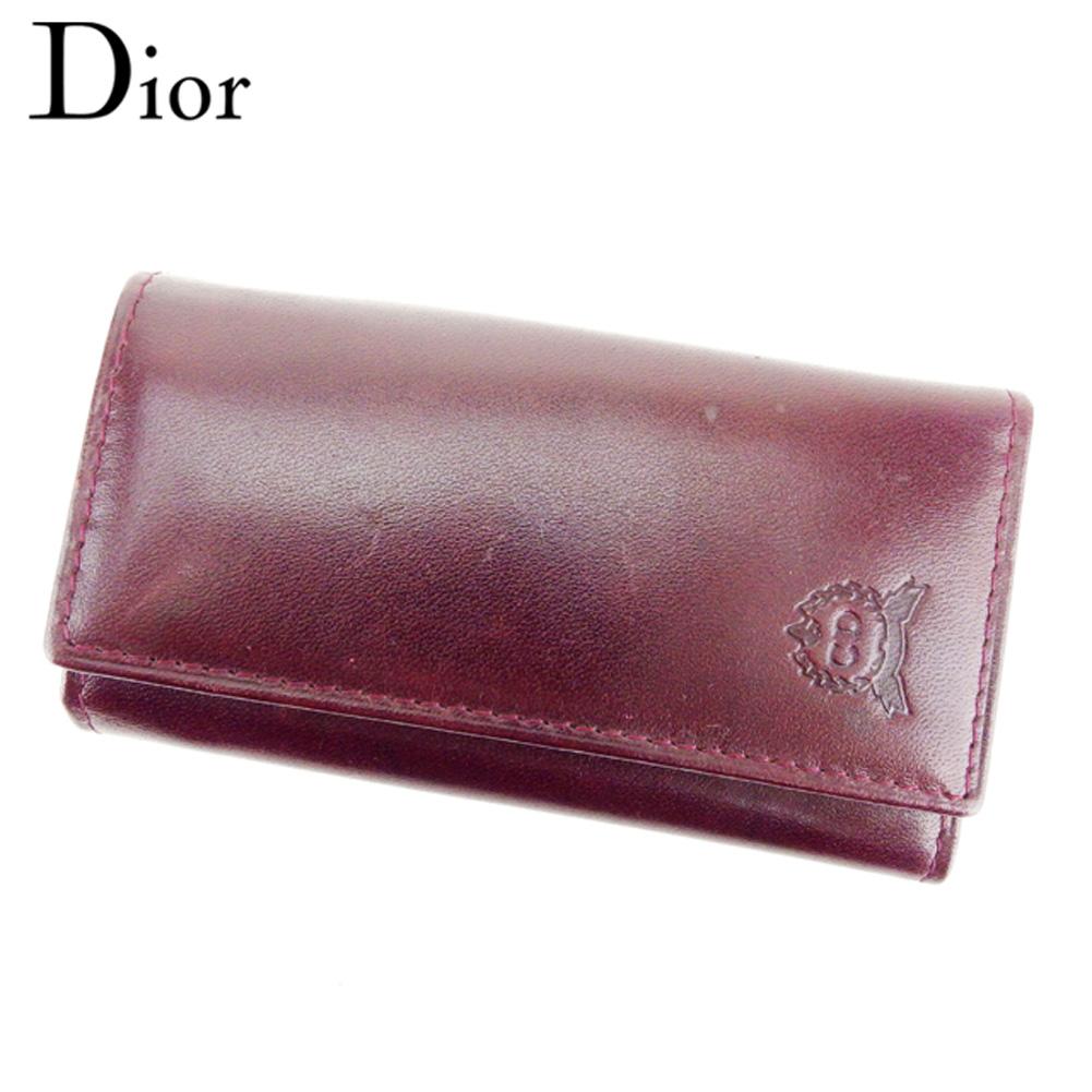 【中古】 ディオール Dior キーケース 6連キーケース レディース メンズ ボルドー レザー T8986
