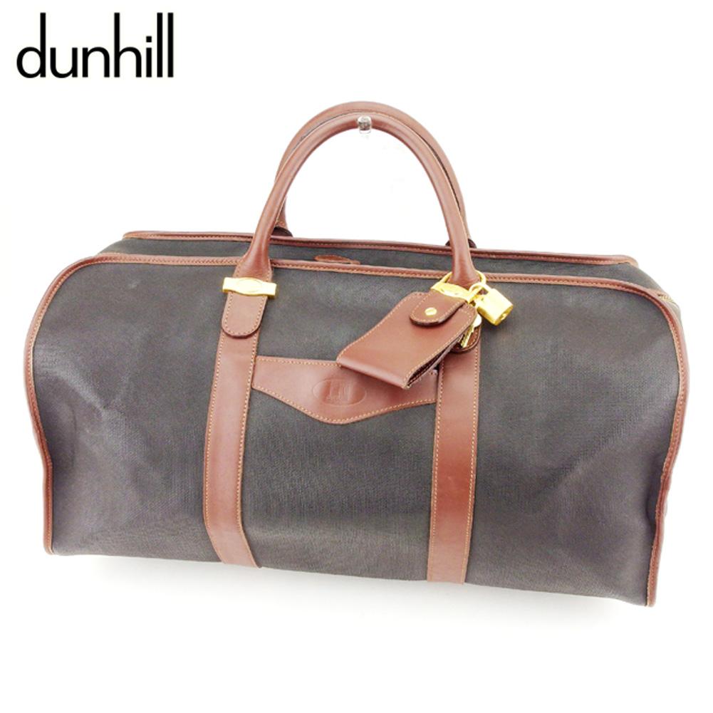 【中古】 ダンヒル dunhill ボストンバッグ 旅行用バッグ メンズ  ブラック ブラウン PVC×レザー 人気 良品 T8991