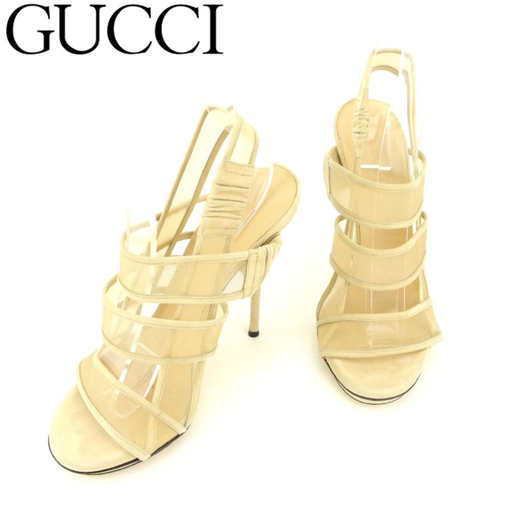 【中古】 グッチ Gucci サンダル シューズ 靴 レディース #36ハーフ ベージュ スエード×メッシュ E1396 .