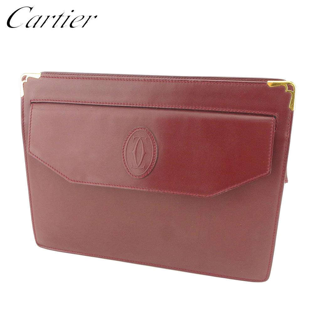【中古】 カルティエ Cartier クラッチバッグ セカンドバッグ バッグ レディース メンズ マストライン ボルドー ゴールド レザー 人気 セール L2527