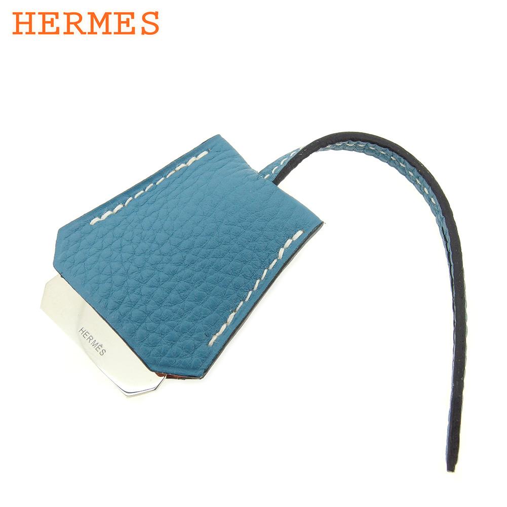 【中古】 エルメス HERMES ドッグタグ ミニクロシェット チャーム レディース メンズ ブルージーン ブルー シルバー レザー 美品 セール L2529