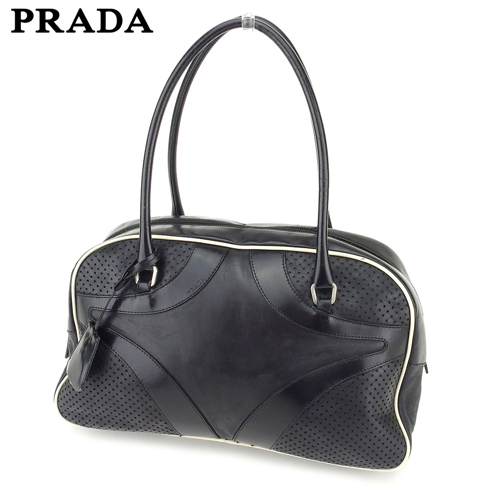 7e9288d73aed Prada PRADA handbag bowling bag bag lady men punching black silver system  leather popularity sale L2547 ...