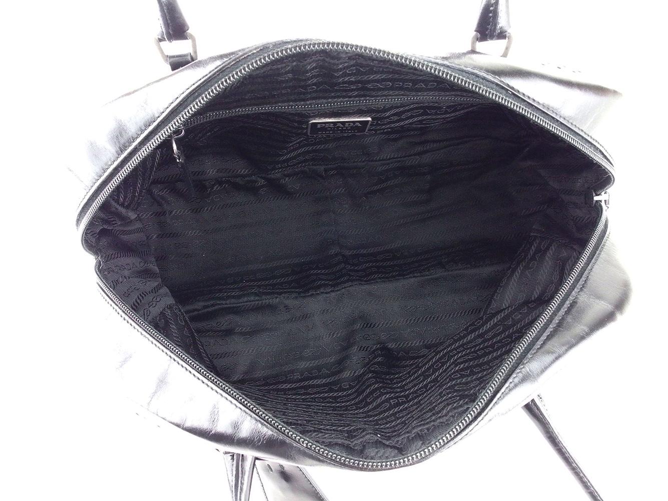 Prada PRADA handbag bowling bag bag lady men punching black silver system leather  popularity sale L2547 ec31c6a791d44