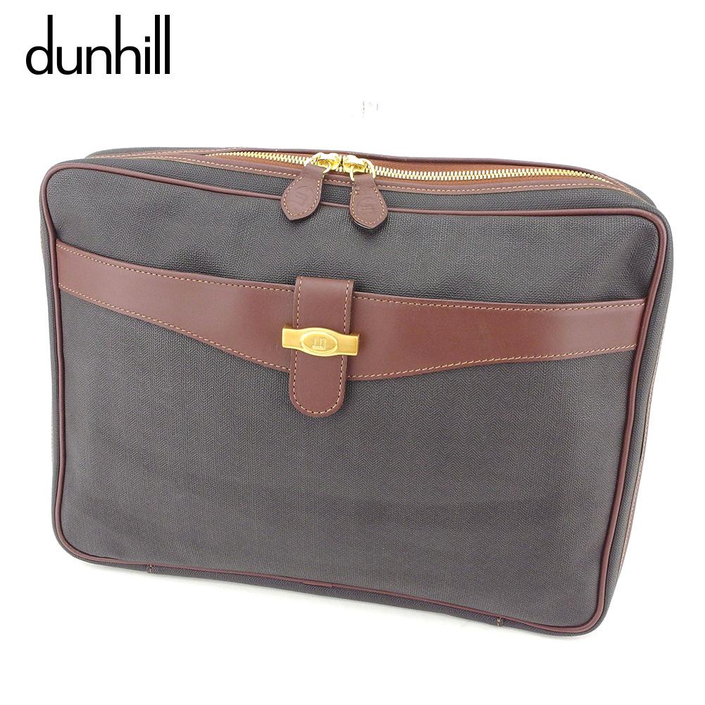 【中古】 ダンヒル dunhill ビジネスバッグ クラッチバッグ 書類バッグ メンズ ヘリンボーン ブラック ブラウン ゴールド PVC×レザー 人気 セール L2548