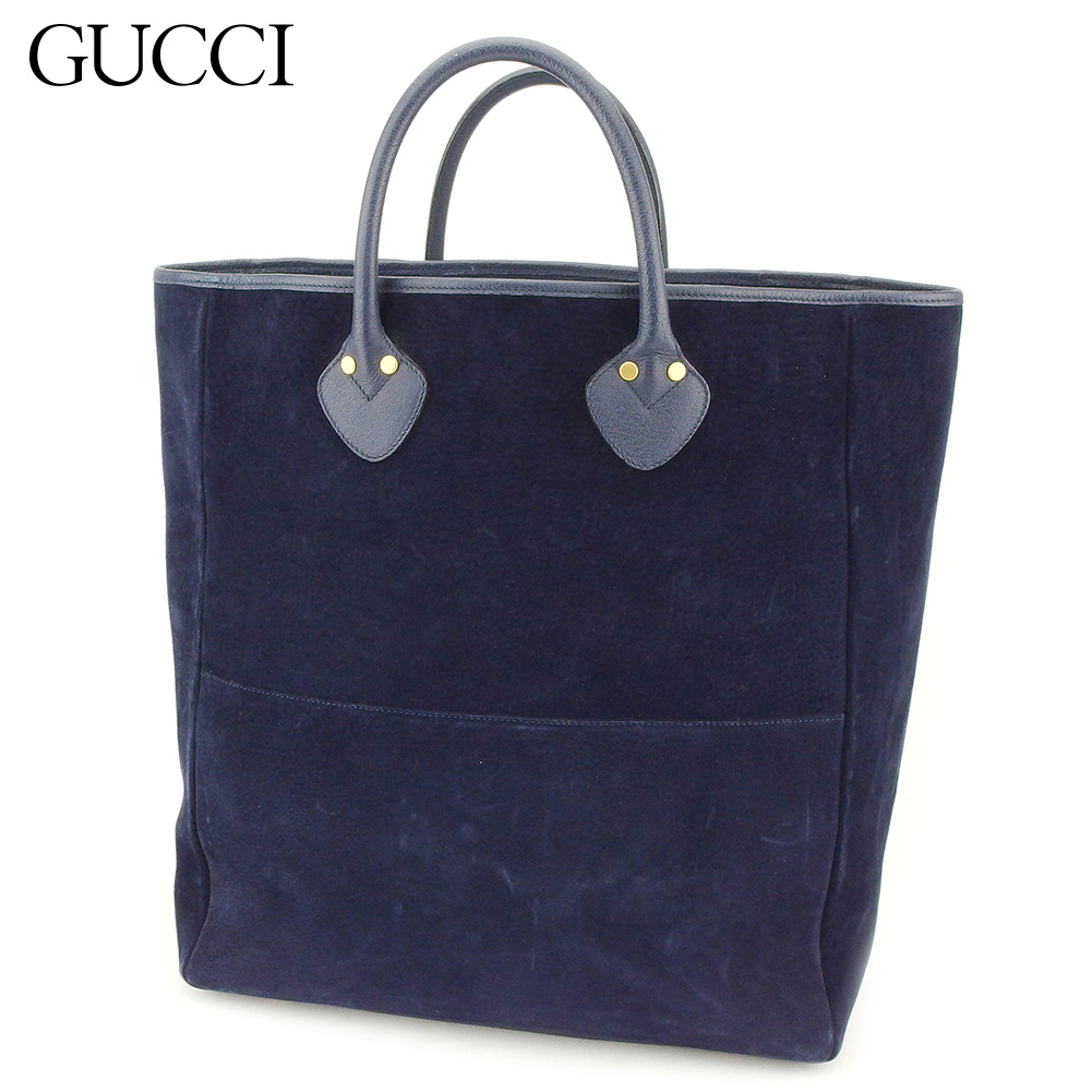 67abc30fc5c0 Gucci GUCCI tote bag Thoth handbag Lady s men old Gucci different fabrics  combination navy gold suede X leather vintage popularity L2569