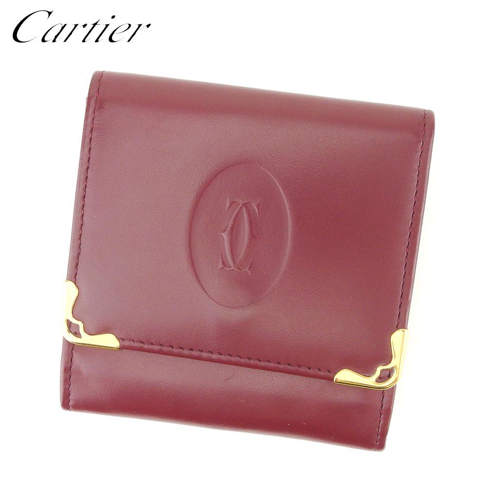 【中古】 カルティエ Cartier コインケース 小銭入れ レディース メンズ ボルドー ゴールド レザー L2591