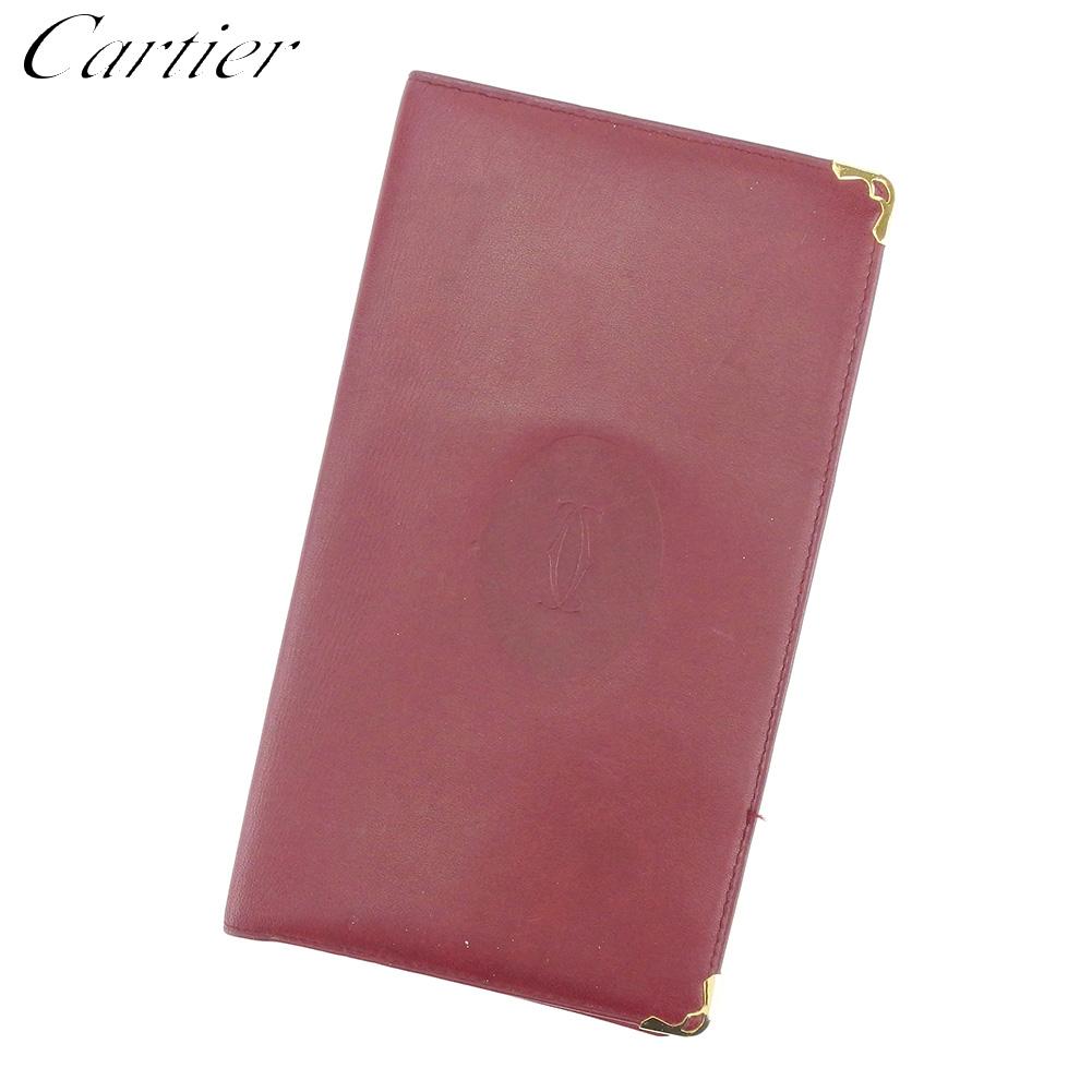 【中古】 カルティエ Cartier 長札入れ 札入れ レディース メンズ ボルドー ゴールド レザー L2593