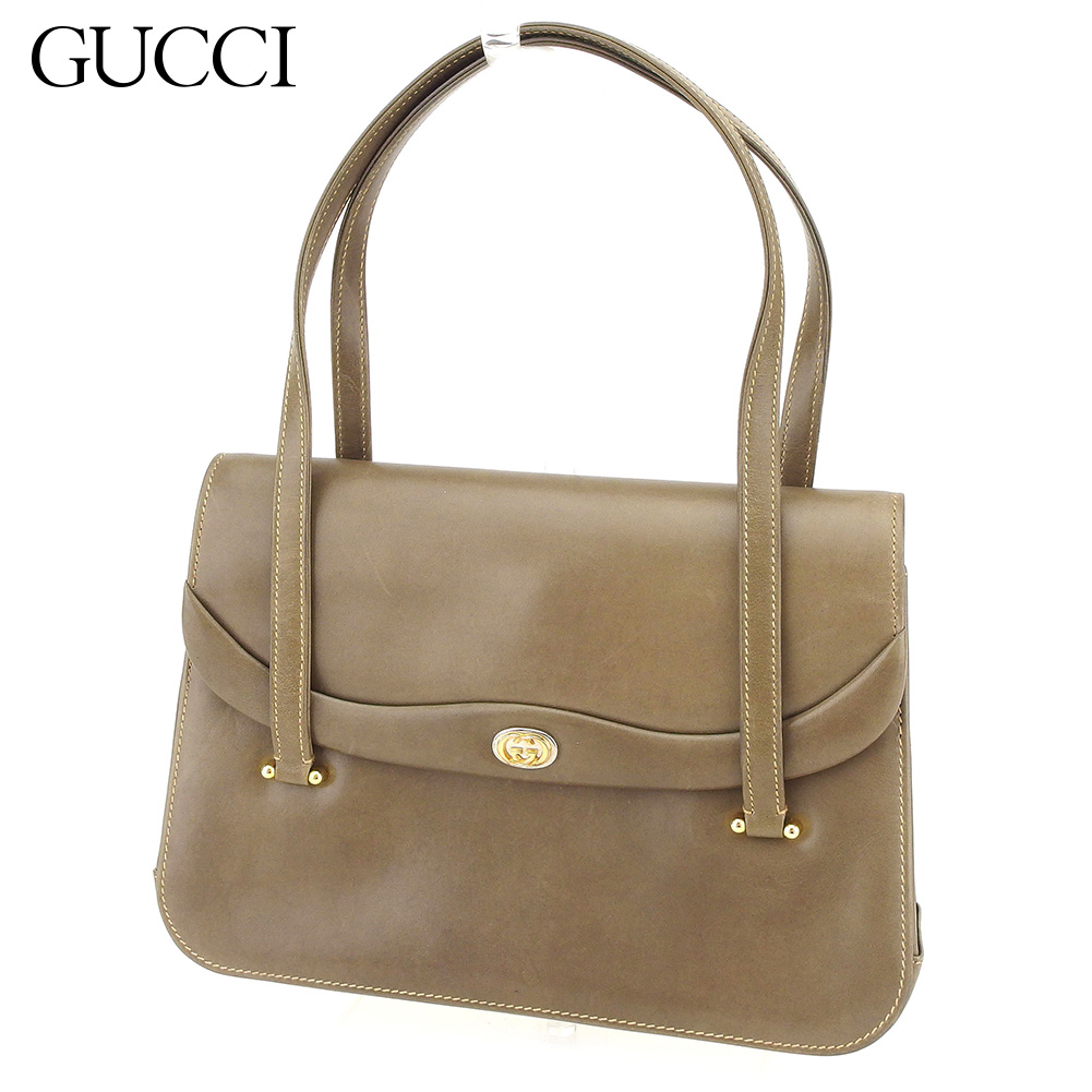 f2bb1503b19 Gucci GUCCI handbag bag lady old Gucci double G brown gold silver leather  vintage quality goods T8715