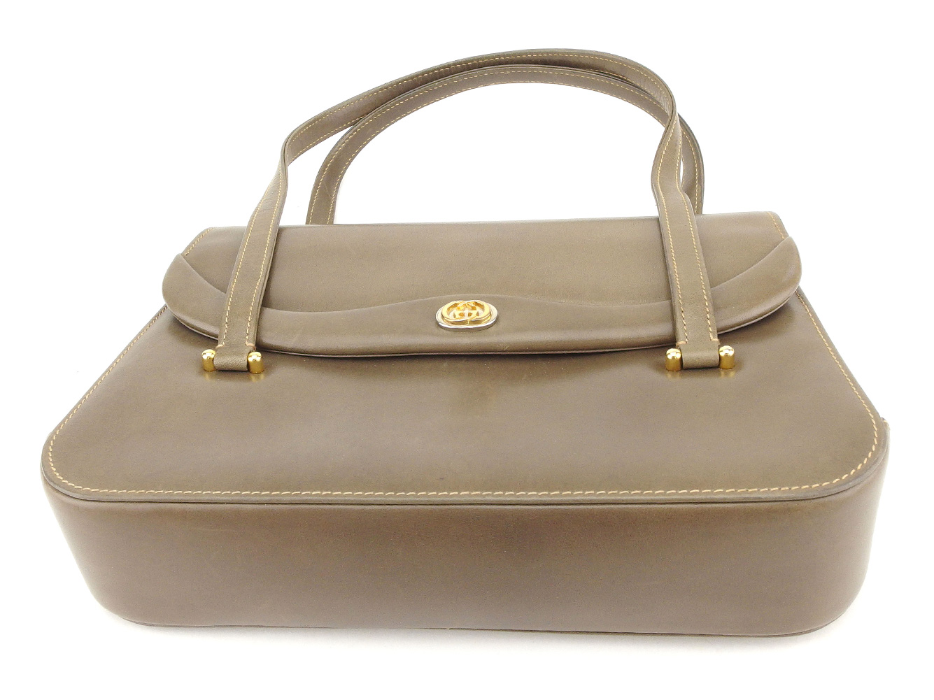 Gucci GUCCI handbag bag lady old Gucci double G brown gold silver leather  vintage quality goods T8715 43706bba3c94c