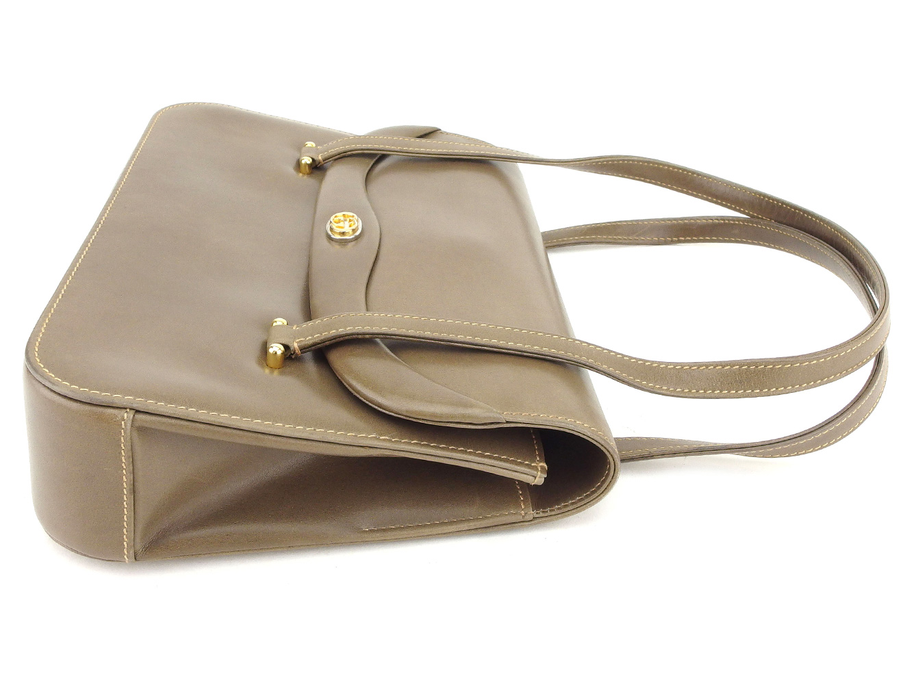 c4ae07b4482445 Gucci GUCCI handbag bag lady old Gucci double G brown gold silver leather  vintage quality goods T8715