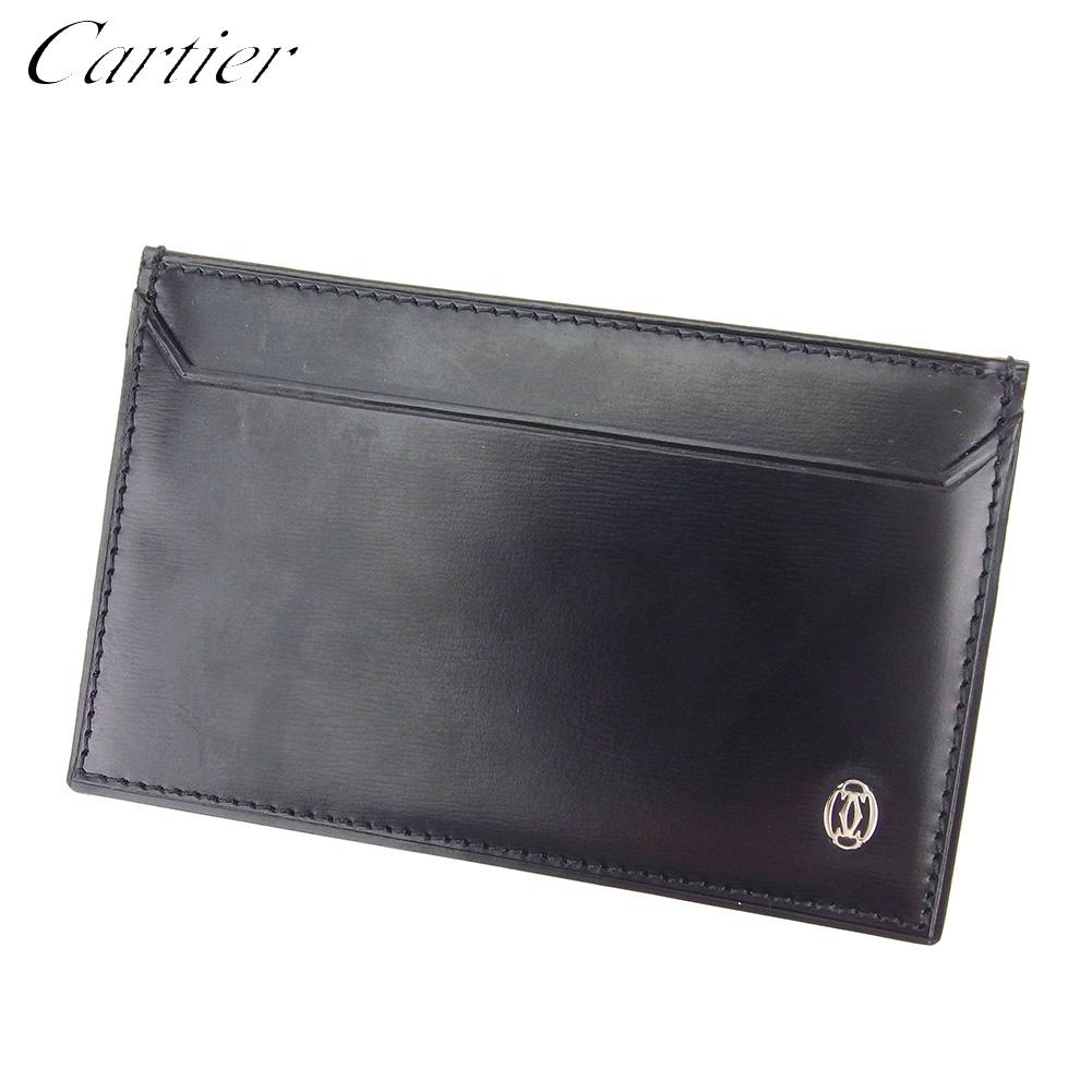 【中古】 カルティエ Cartier カードケース 名刺入れ パスケース メンズ パシャ ブラック シルバー レザー 訳あり 未使用品 T8723