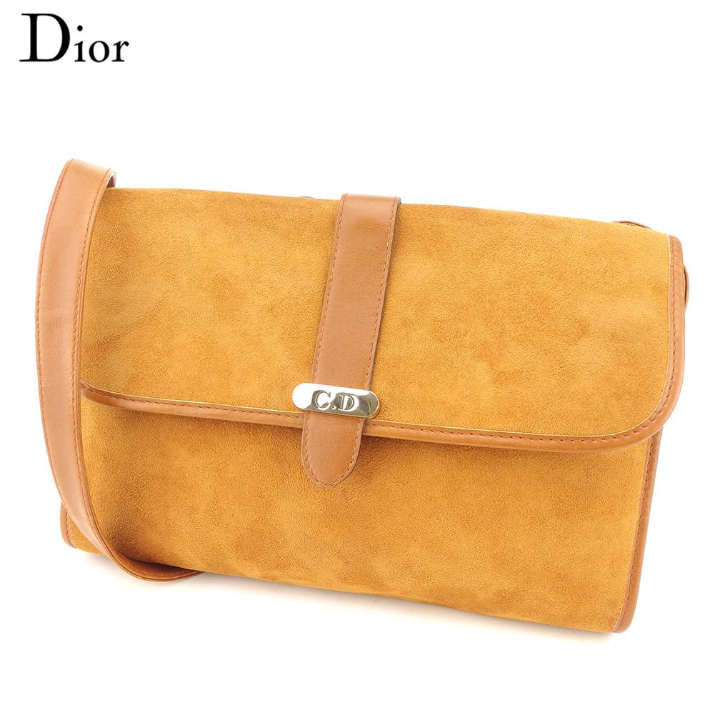 【中古】 ディオール Dior ショルダーバッグ 斜めがけショルダー バッグ レディース メンズ CDプレート ライトブラウン ゴールド スエード×レザー 訳あり ヴィンテージ T8741