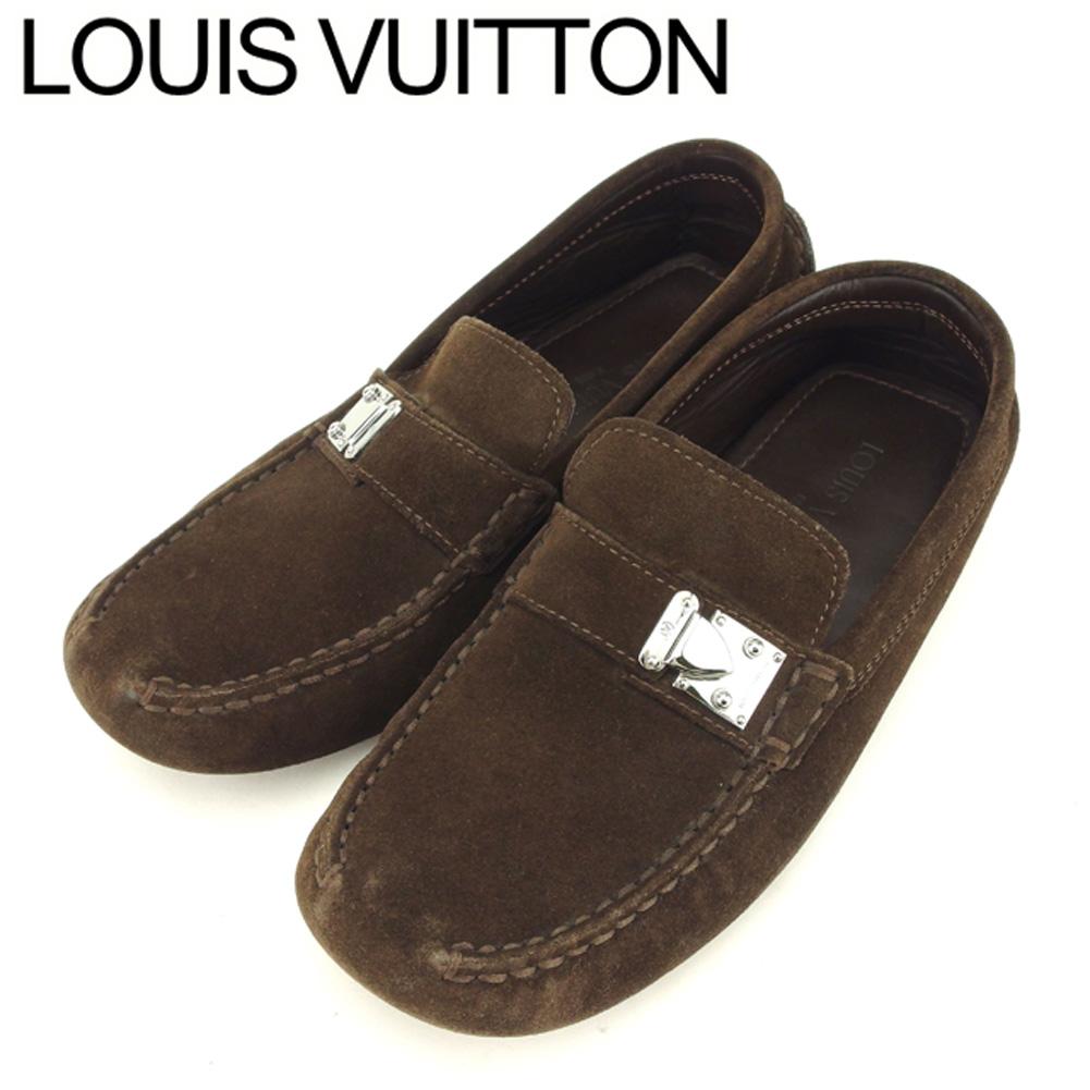 【中古】 ルイ ヴィトン Louis Vuitton ドライビングシューズ シューズ レディース メンズ #5ハーフ ブラウン スエード T9036