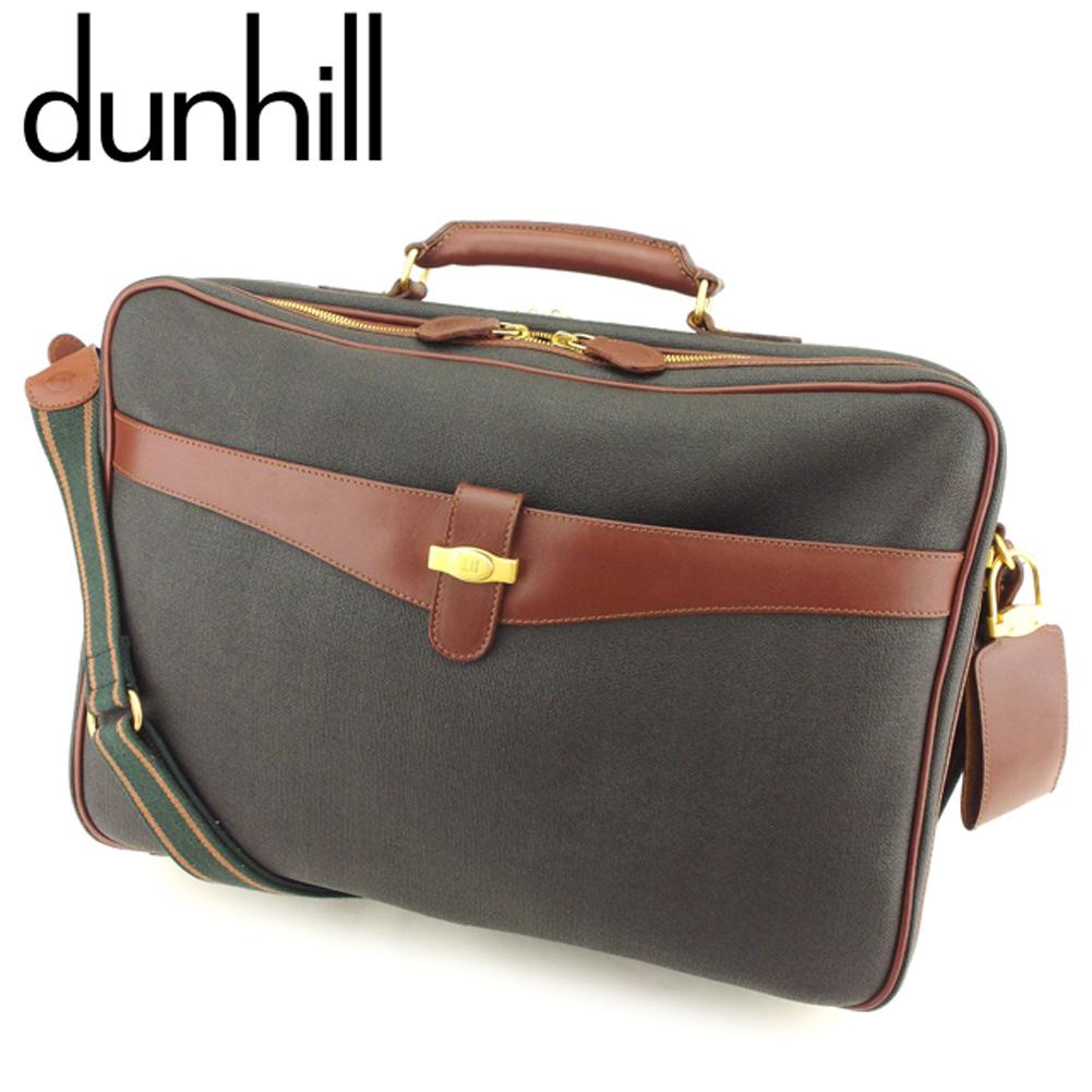 【中古】 ダンヒル Dunhill ビジネスバッグ 2WAYショルダー レディース メンズ  ブラック ブラウン PVC×レザー 人気 良品 T9041