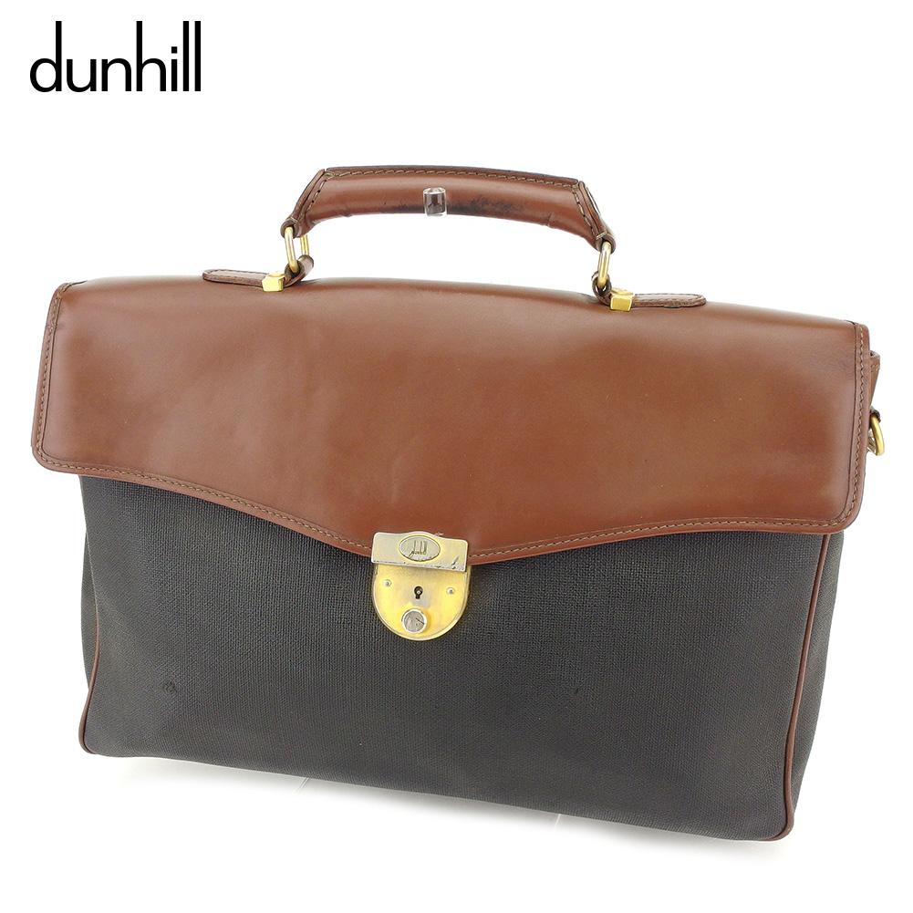 【中古】 ダンヒル dunhill ビジネスバッグ 2WAY ショルダーバッグ メンズ 異素材コンビ ブラック ブラウン ゴールド PVC×レザー 人気 セール D1990
