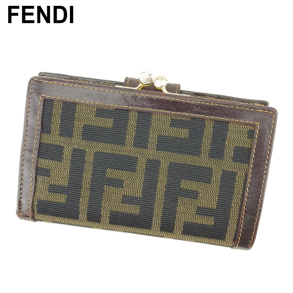 【中古】 フェンディ FENDI がま口 財布 二つ折り 財布 レディース メンズ ズッカ ブラック ベージュ ブラウン キャンバス×レザー 人気 セール G1377