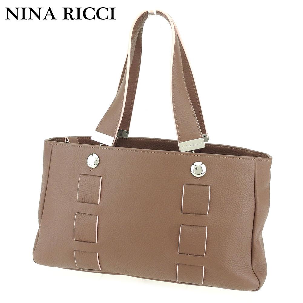 【中古】 ニナリッチ NINA RICCI トートバッグ ハンドバッグ レディース  ブラウン レザー 人気 セール G1379