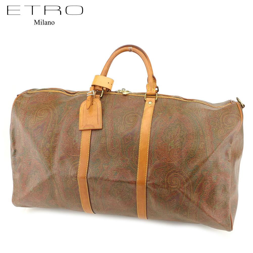 【中古】 エトロ ETRO ボストンバッグ 旅行用バッグ レディース メンズ ペイズリー PVC×レザー 人気 セール I552