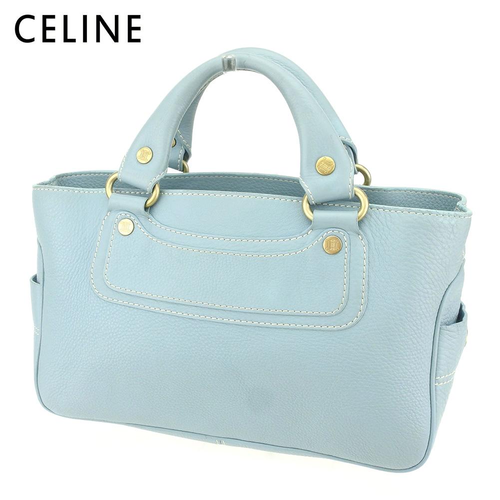【中古】 セリーヌ Celine トートバッグ ハンドバッグ レディース ブギーバッグ ブルー レザー 人気 セール Q550