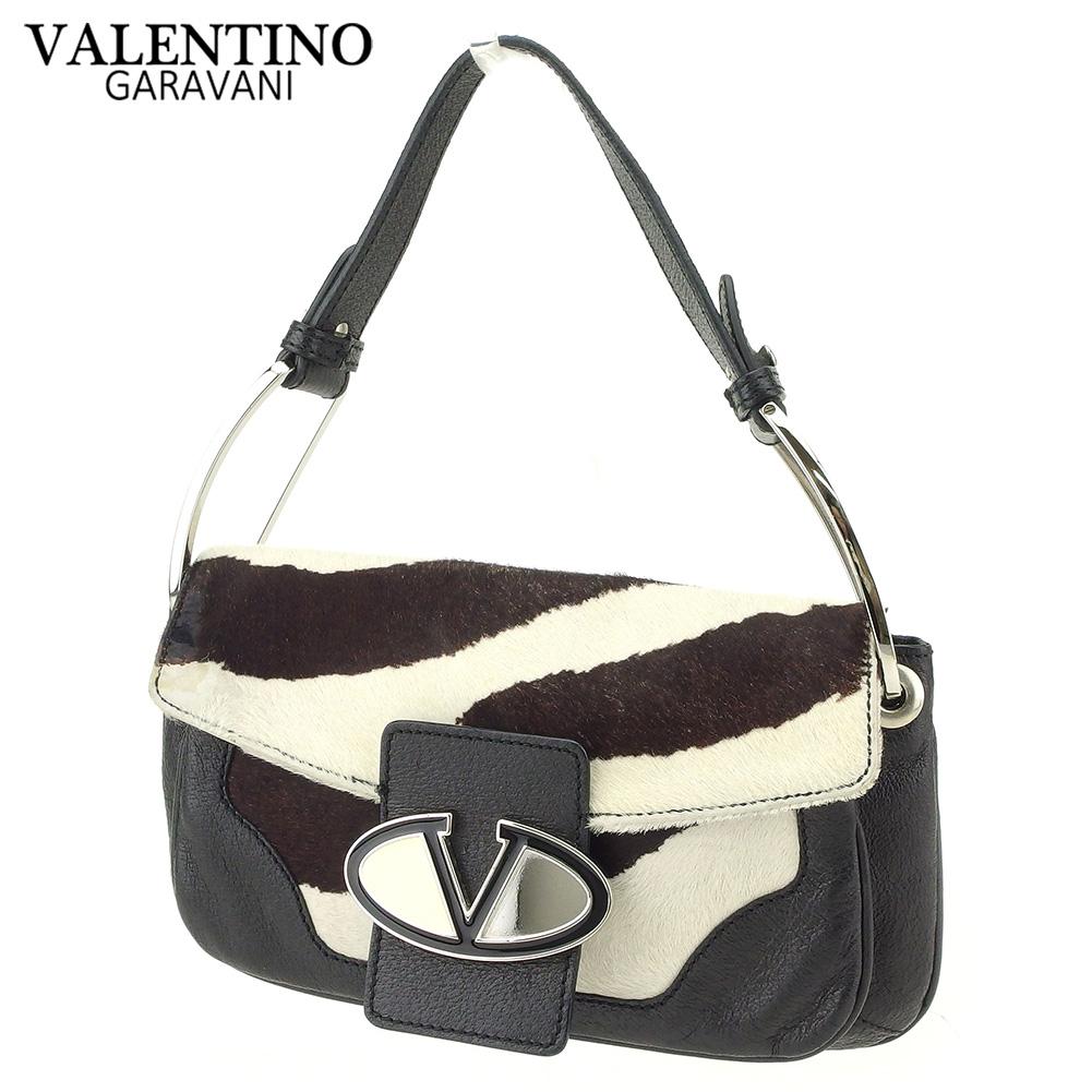 【中古】 ヴァレンティノ ガラバーニ VALENTINO GARAVANI ショルダーバッグ ワンショルダー メンズ可  ブラック ブラウン ホワイト 白 ハラコ×レザー 美品 セール T9012