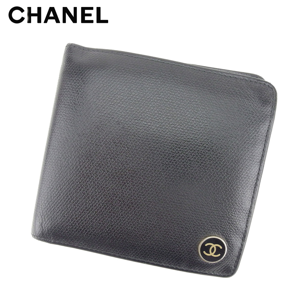 【中古】 シャネル CHANEL 二つ折り 財布 レディース メンズ オールドシャネル ココボタン ブラック ゴールド レザー ヴィンテージ レア T9088