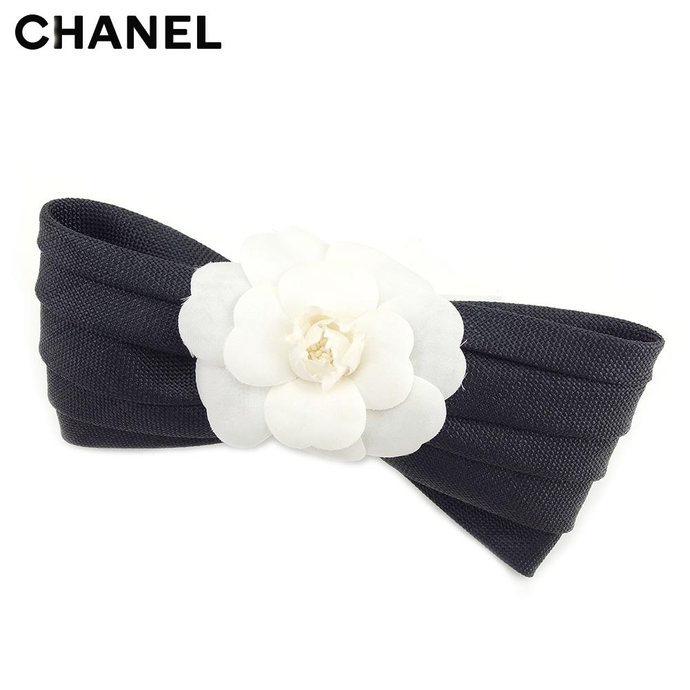 【中古】 シャネル CHANEL ブローチ ピンブローチ レディース カメリア リボン ブラック ホワイト 白 人気 良品 T9092
