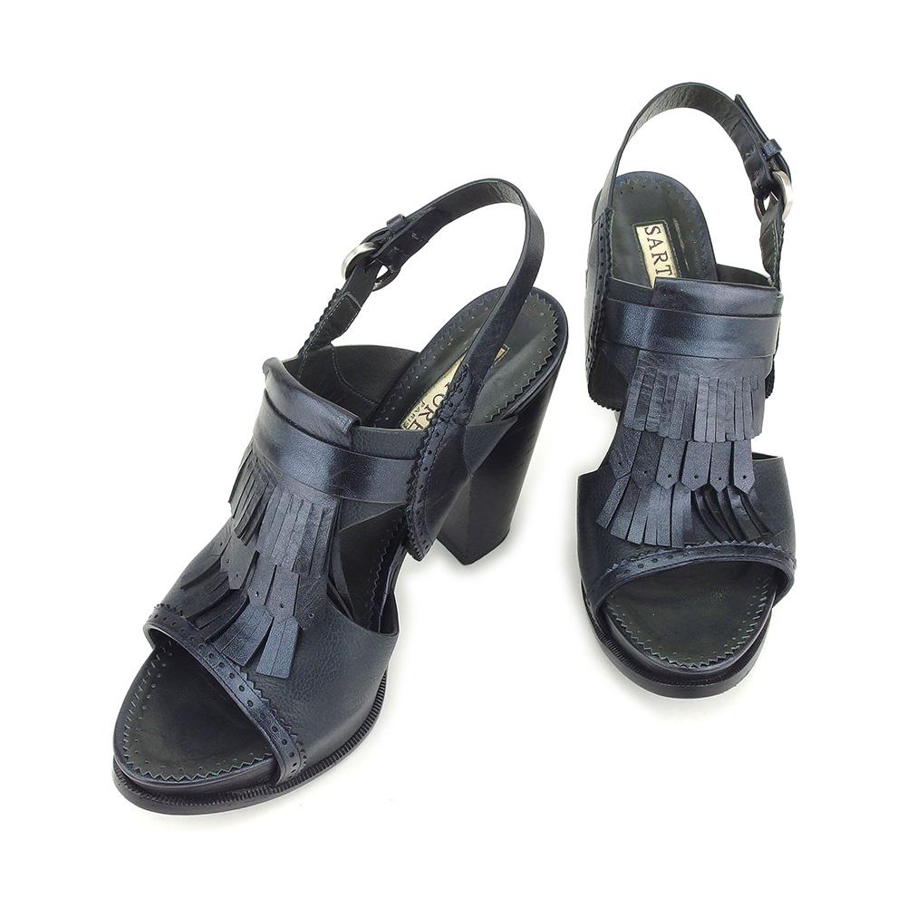 【中古】 サルトル SARTORE サンダル シューズ 靴 レディース ♯35ハーフ チャンキーヒール ネイビー ブラック シルバー レザー T9110